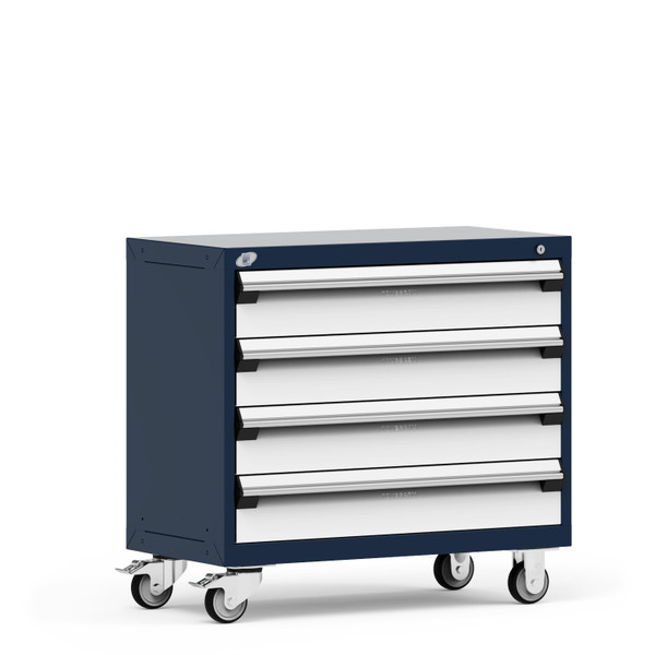 """Mobile Cabinet, 36""""W x 18""""D x 33 1/8""""H, 4 Drawers, 4"""" Swivel Casters Heavy-Duty 16 Gauge Construction, Navy By Cleanroom World"""