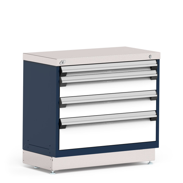 """Stationary Cabinet, 36""""W x 18""""D x 32""""H, Stainless Steel Cover, Heavy-Duty 16 Gauge Construction, Navy By Cleanroom World"""