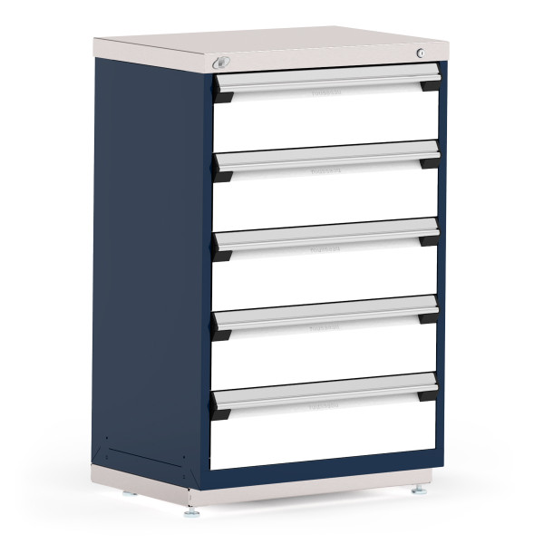 """Stationary Cabinets, 30""""W x 21""""D x 46""""H, Stainless Steel Cover, 5 Drawers, Heavy-Duty 16 Gauge Construction, Navy By Cleanroom World"""