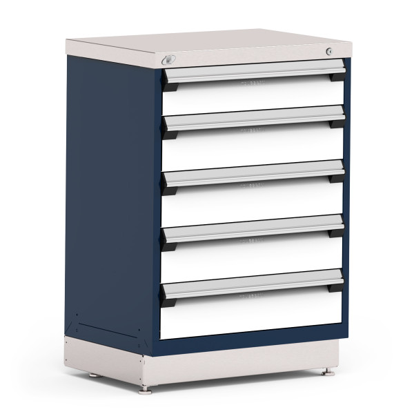 """Stationary Cabinets, 30""""W x 21""""D x 42""""H, Stainless Steel Cover, 5 Drawer, Heavy-Duty 16 Gauge Construction By Cleanroom World"""
