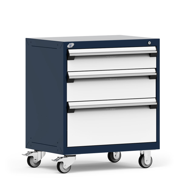 """Mobile Cabinet, 30""""W x 21""""D x 35 1/8""""H, 3 Drawers, 4"""" Swivel Casters, Heavy-Duty 16 Gauge Construction, Navy By Cleanroom World"""
