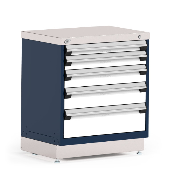 """Stationary Cabinet, 30""""W x 21""""D x 34""""H, Stainless Steel Cover, 5 Drawers, Heavy-Duty 16 Gauge Construction, Navy By Cleanroom World"""