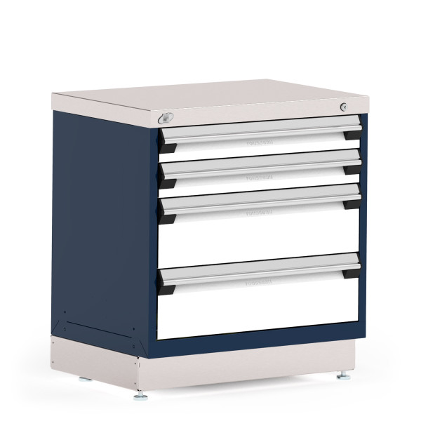 """Stationary Cabinet, 30""""W x 21""""D x 32""""H, Stainless Steel Cover, 4 Drawers, Heavy-Duty 16 Gauge Construction, Navy By Cleanroom World"""