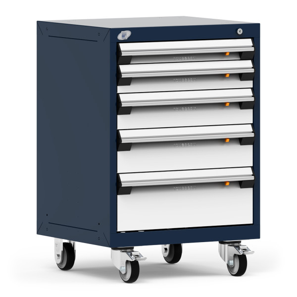 """Mobile Cabinet, 24""""W x 21""""D x 35 1/8"""", 5 Drawers, 4"""" Swivel Casters, Navy By Cleanroom World"""