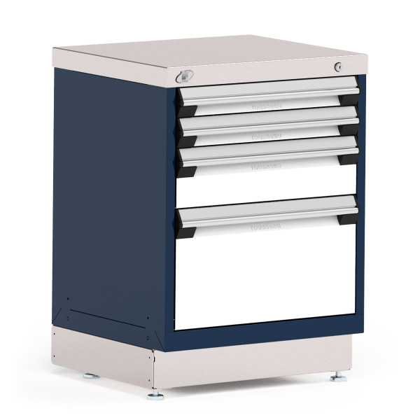 """Stationary Cabinet, 24""""W x 21""""D x 34""""H, Stainless Steel Cover, 4 Drawers, Navy By Cleanroom World"""