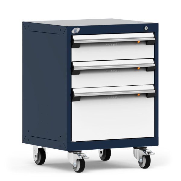 """Mobile Cabinet, 24""""W x 21""""D x 33 1/8""""H, 3 Drawers, 4"""" Swivel Casters, Navy By Cleanroom World"""