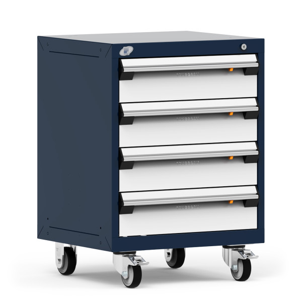 """Mobile Cabinet, 24""""W x 21""""D x 33 1/8""""H, 4 Drawers, 4"""" Swivel Casters, Navy By Cleanroom World"""