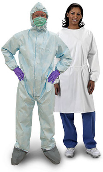 Ebola Protective Suits, BioHazard Medical Coveralls, Viral Penetration Protection, Kappler Provent 10,000, S-3XL  by Cleanroom World