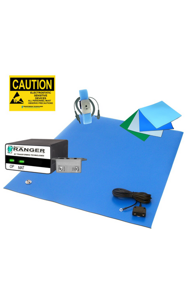 ESD Workstation Kit, Dual Wire Constant Monitor, Wrist Strap, Grounding Hardware, and ESD Sign