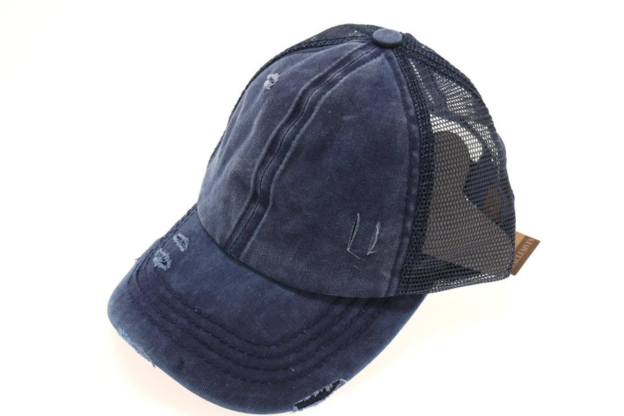 High Ponytail Distressed Mesh Back CC Ball Cap