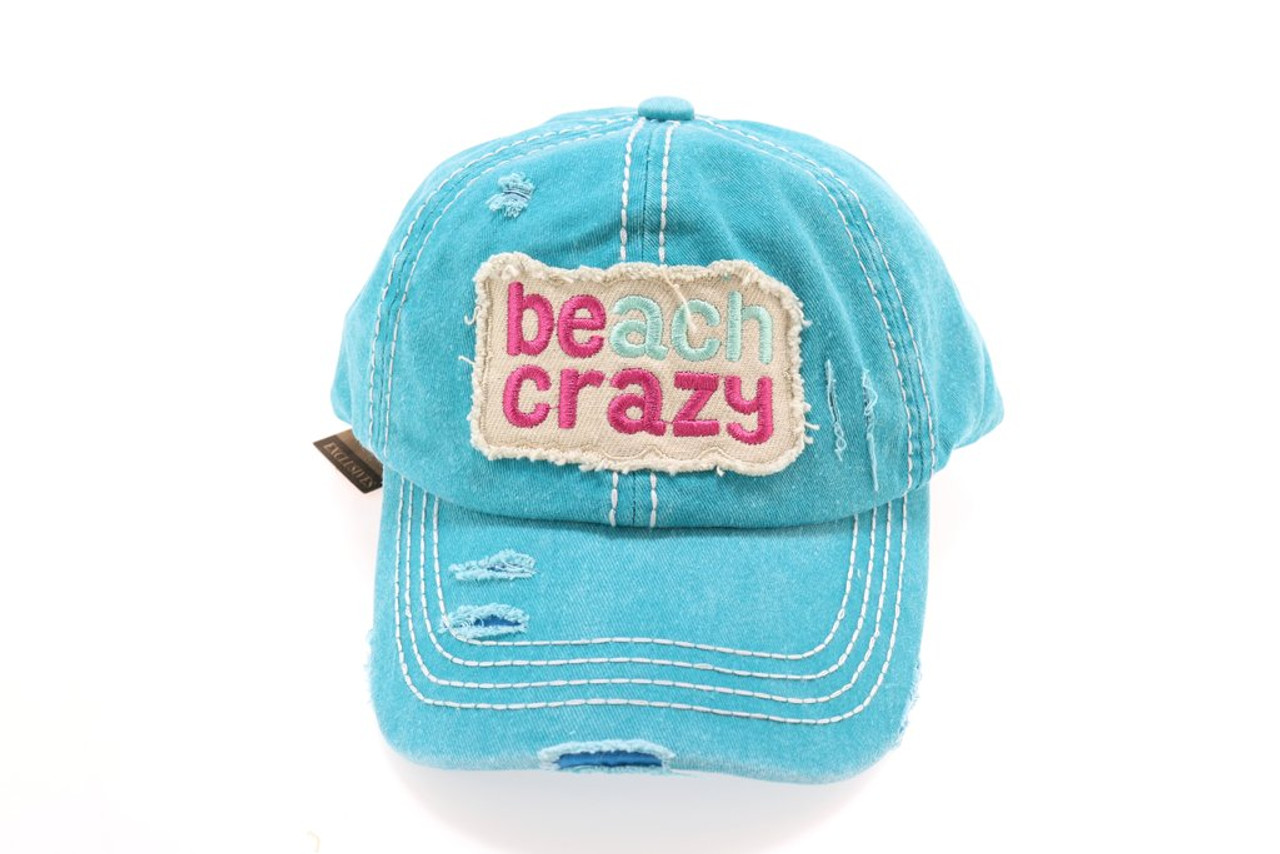 High Ponytail Beach Crazy Embroidered CC Ball Cap