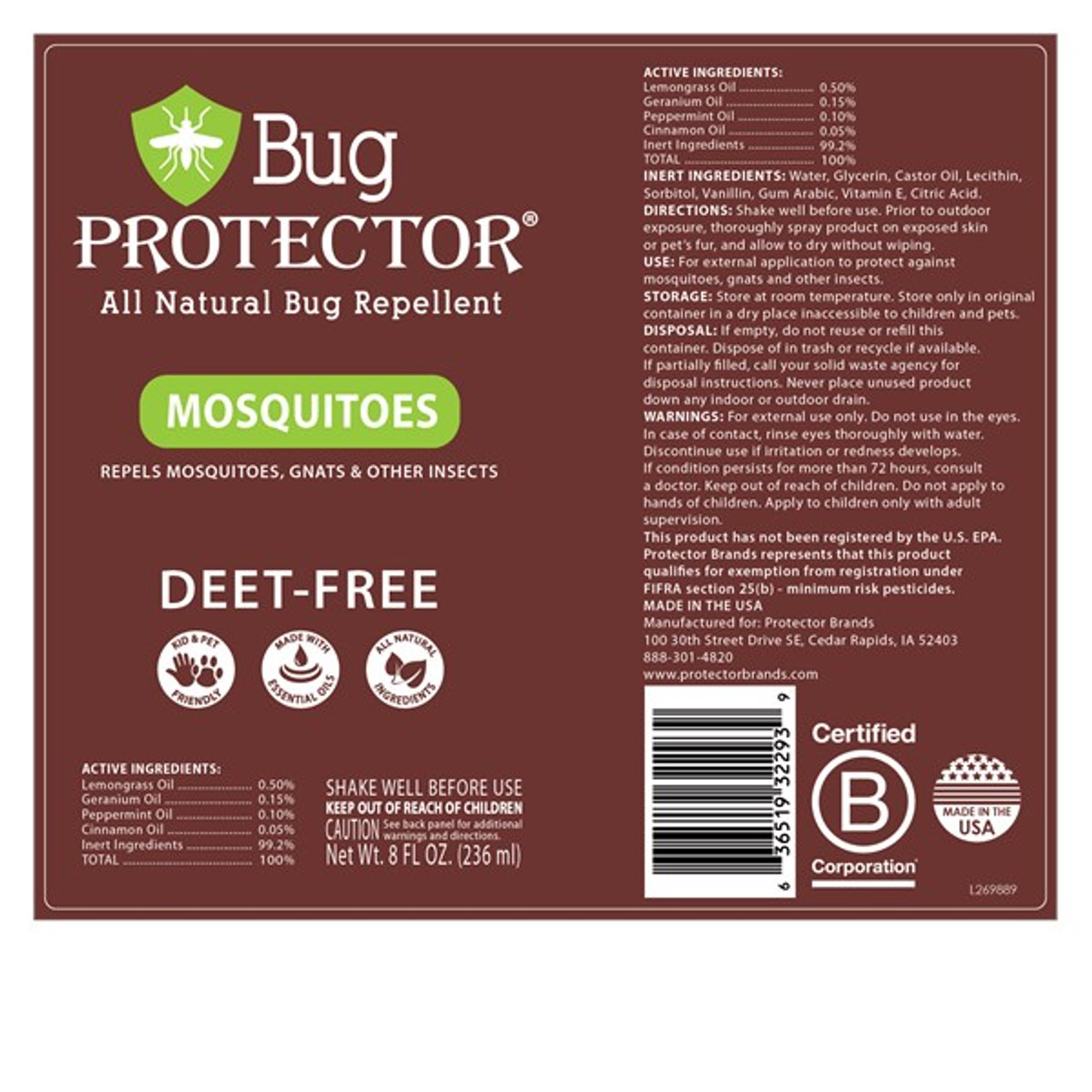 Mosquito Repellent Spray 8 oz Spray by Bug Protector