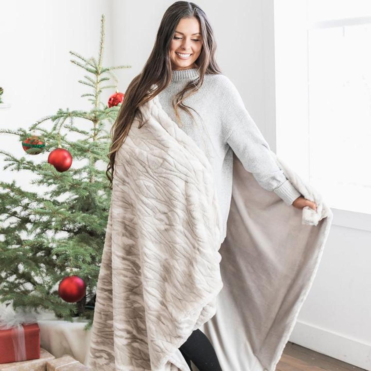 Tan Marble Lush/Minky XL Throw Blanket by Saranoni