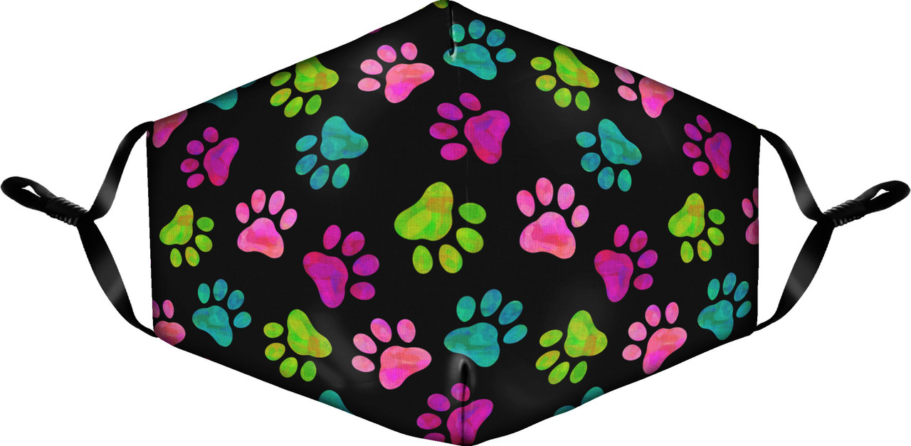 Face Masks with Adjustable Ears - Pawprint Design