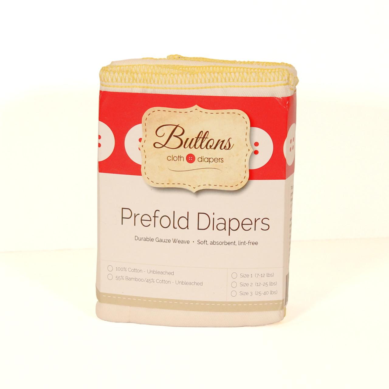 Buttons Unbleached Cotton Prefolds 6 Pack
