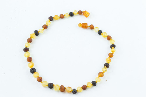"Healing Hazel Raw Amber 11"" Necklace pop clasp"