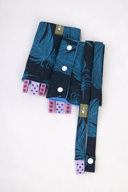 Lenny Lamb Drool Pad and Strap Set - Feather Turquoise & Black