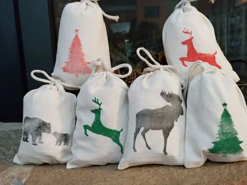 5x7 Cotton drawstring bag hand painted Green Reindeer