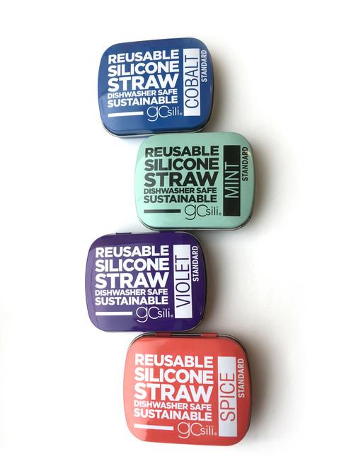 "8"" Reusable Silicone Straw with Travel Tin by GoSili"