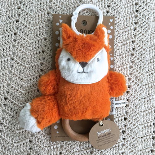 Red Fox Natural Wooden Teething Ring Ages 0+ by O.B.Designs