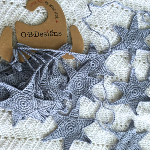 Hand Crochet Blue Starfish Bunting 10 ft by O.B.Designs