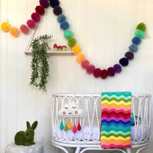 Crochet Cloud Mobile Wall Hanging Rainbow by O.B.Designs