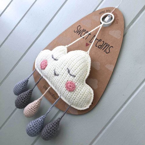 Crochet Cloud Mobile Wall Hanging Blue by O.B.Designs