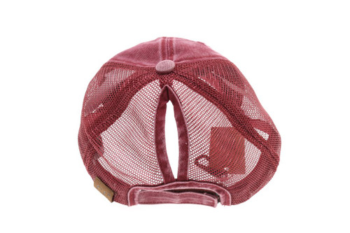 High Ponytail Distressed Mesh Back CC Ball Cap