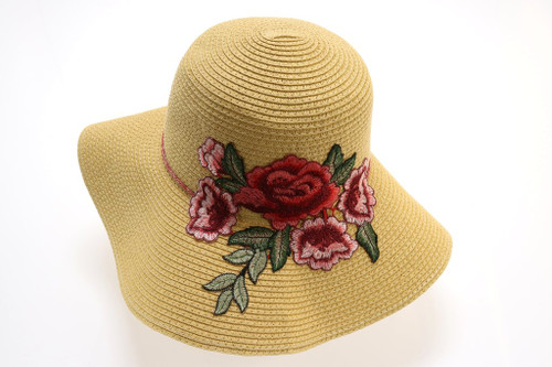 Braided Straw Hat with Rose Embroidery by CC Beanie