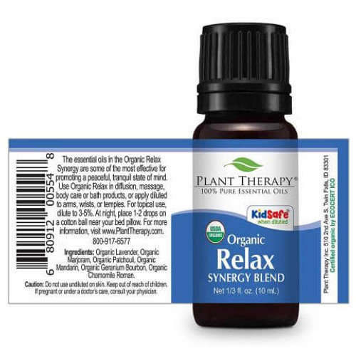 ORGANIC Relax Synergy Essential Oil 10ml by Plant Therapy