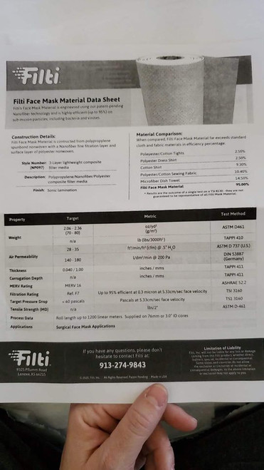 Pocket Mask Filter Material FILTI