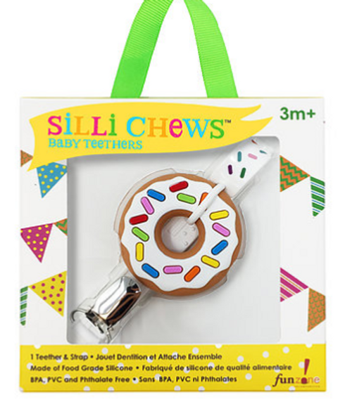 Donut Silicone Teether Strap Sillichews