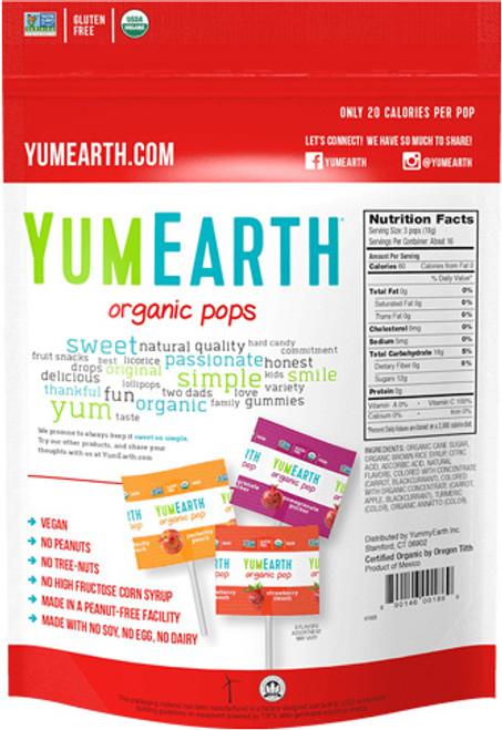 Organic Assorted Flavor Lollipops 20 pops 4.5 oz YumEarth