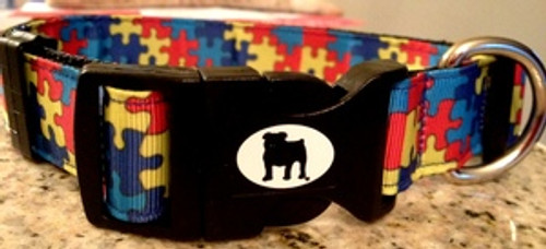 """Collars are made with contoured snap lock buckle and heavy duty hardware on 1"""" wide webbing. All collars have a matching harness and leash to complete the look. Gently hand wash and air dry. Hand made in the USA."""