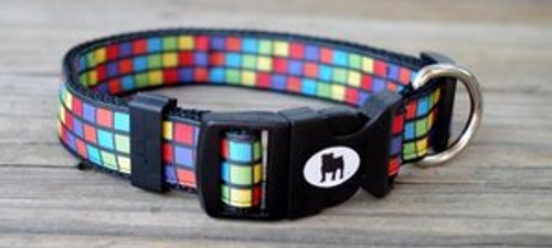 """Collars are made with contoured snap lock buckle and heavy duty hardware on 1"""" wide webbing.All collars have a matching harness and leash to complete the look. Gently hand wash and air dry. Hand made in the USA."""