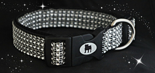 Stunning and glamorous rhinestone collar. Made with 5 layers of rhinestone design that actually holds no stones but dazzles like diamonds. Sewn on heavy duty webbing, and using only top quality hardware.