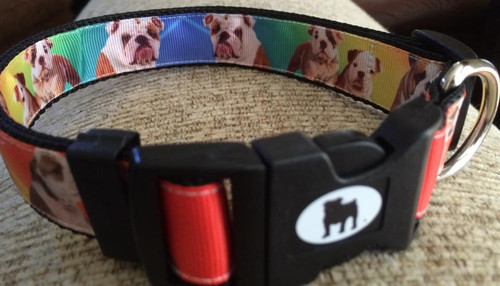 "Collars are made with contoured snap lock buckle and heavy duty hardware on 1"" wide webbing.All collars have a matching harness and leash to complete the look. Gently hand wash and air dry. Hand made in the USA"