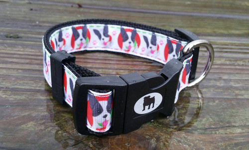 "Collars are made with contoured snap lock buckle and heavy duty hardware on 1"" wide webbing. All collars have a matching harness and leash to complete the look. Gently hand wash and air dry. Hand made in the USA."