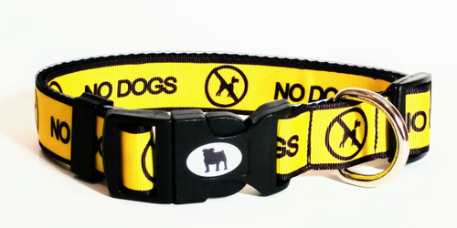 """This bright yellow with NO DOGS  boldly written on it, is a indication that your dog is not comfortable with other dogs coming up to greet them.  Some dogs are just shy or have dog aggression. This is a must if you go out with your dog in public places.  Collars are made with contoured snap lock buckle and heavy duty hardware on 1"""" wide webbing.All collars have a matching harness and leash to complete the look. Gently hand wash and air dry. Hand made in the USA"""