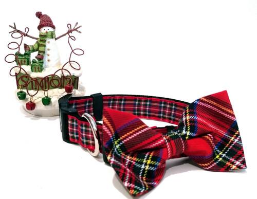 Royal Stewart Tartan bow tie with coordinating collar.