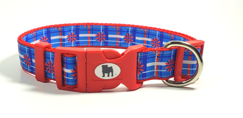 "It's a Bulldog's World! All items are made with 1"" wide heavy polypropylene webbing. All hardware is high grade and heavy duty. Gently hand wash and air dry. Hand made in the USA."