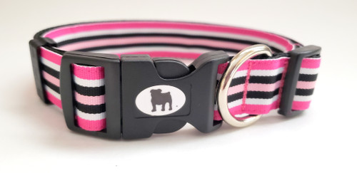 "A Bulldog's World! All items are made with 1"" wide heavy polypropylene webbing. All hardware is high grade and heavy duty. Gently hand wash and air dry. Hand made in the USA.  If you would prefer Pink Hardware on this collar, please state so on the comments section as you check out"