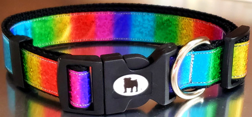 "A Bulldog's World! All items are made with 1"" wide heavy polypropylene webbing. All hardware is high grade and heavy duty. Gently hand wash and air dry. Hand made in the USA. This pattern is a laser holographic print on a faux leather ribbon. Catches the light perfectly, and adds extra sparkle."