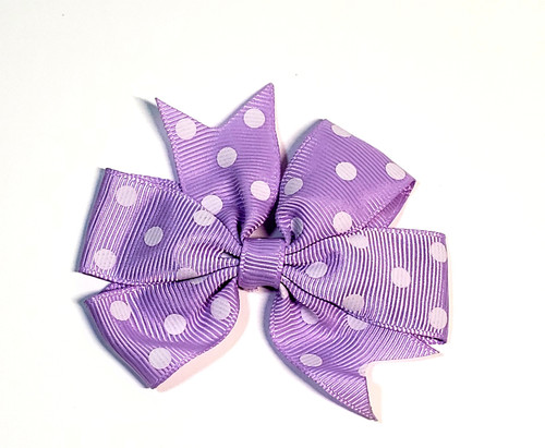 Lilac polka dot Bow