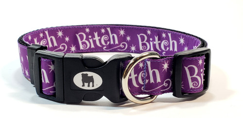 """Say it with style!  A Bulldog's World! All items are made with 1"""" wide heavy polypropylene webbing. All hardware is high grade and heavy duty. Gently hand wash and air dry. Hand made in the USA."""