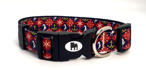 """It's a Bulldog's World! All items are made with 1"""" wide heavy polypropylene webbing. All hardware is high grade and heavy duty. Gently hand wash and air dry. Hand made in the USA."""
