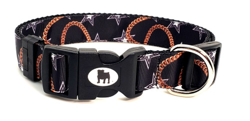 "A Bulldog's World! All items are made with 1"" wide heavy polypropylene webbing. All hardware is high grade and heavy duty. Gently hand wash and air dry. Hand made in the USA.  This pattern is available in Collars leashes and harnesses, key fobs, lanyards. On this page"