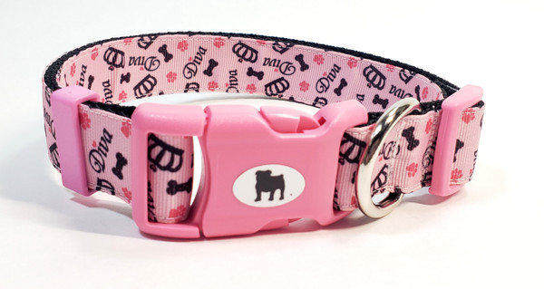 """It's a Bulldog's World! All items are made with 1"""" wide heavy polypropylene webbing. All hardware is high grade and heavy duty. Gently hand wash and air dry. Hand made in the USA.  Team it up with a bow on the Add a Bow category."""