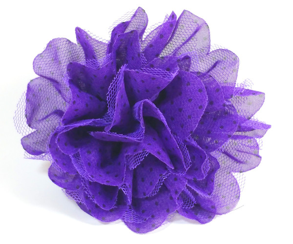 """purple 4"""" Shabby Lace Mesh Chiffon Flower that can be interchangeable with any collar or harness. Velcro looped for easy removal and add on"""