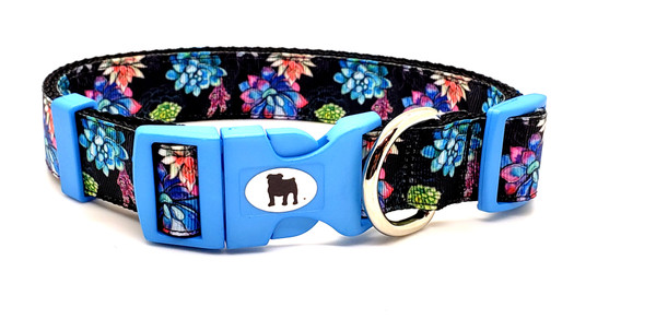 """A Bulldog's World! All items are made with 1"""" wide heavy polypropylene webbing. All hardware is high grade and heavy duty. Gently hand wash and air dry. Hand made in the USA. This pattern is available in Collars leashes and harnesses, key fobs, lanyards. On this page"""